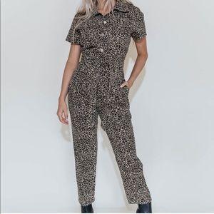 NWT Kittenish Leopard Jumpsuit SZ XL